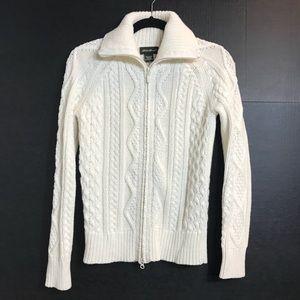 Eddie Bauer Zip Up Cable Knit Cream Sweater Sz. XS